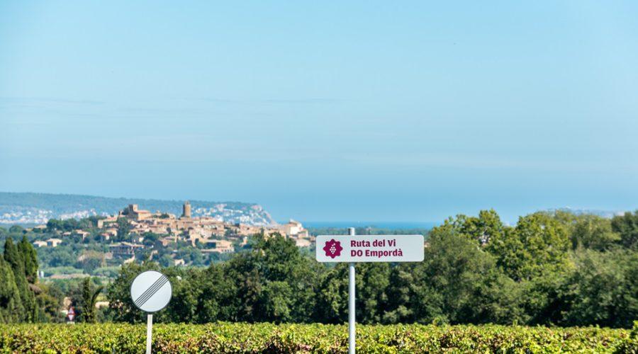 Les vinyes de Mas Oller amb Pals de fons. Celler Mas Oller s/n, Carretera, GI-652, Km.0, 230, 17123 Torrent, Girona  Telf. 972 30 00 01